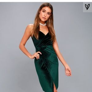 DARK GREEN VELVET BODYCON WRAP DRESS